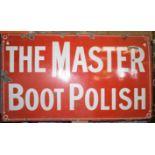 Vintage enamel advertising sign 'The Master Boot Polish' 53 x 91cm
