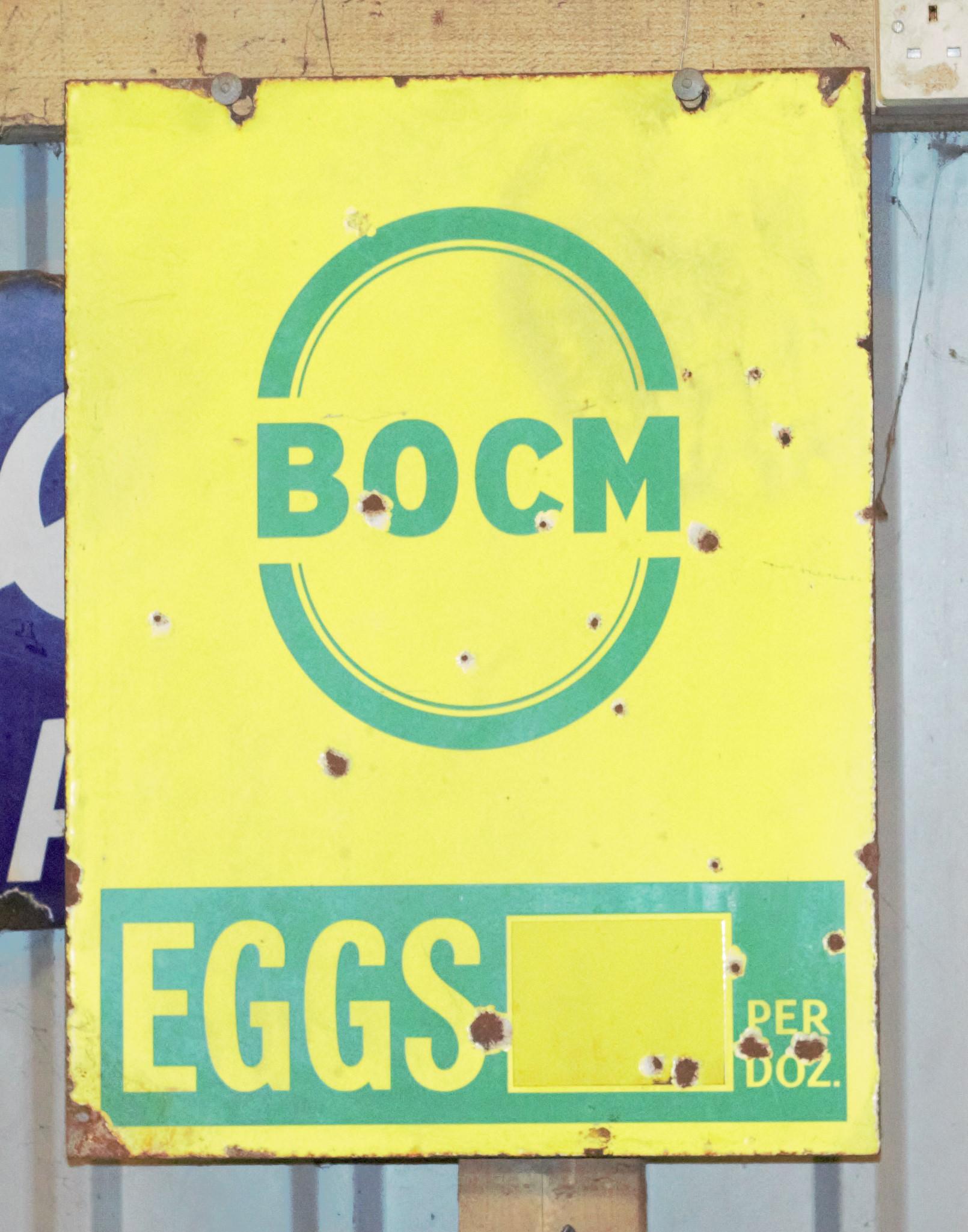 Vintage enamel advertising sign 'BOCM eggs' 61 x 46cm
