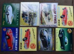 Eight motoring interest metal advertising signs to Jaguar, Dunlop, MG, Porsche, Austin Healey etc,