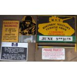 Five military interest signs comprising military vehicle show, radiation warning, HM prison service,