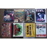 Eight metal advertising signs to include Beatles, Elvis, Trotters, Liverpool, Dracula etc, each