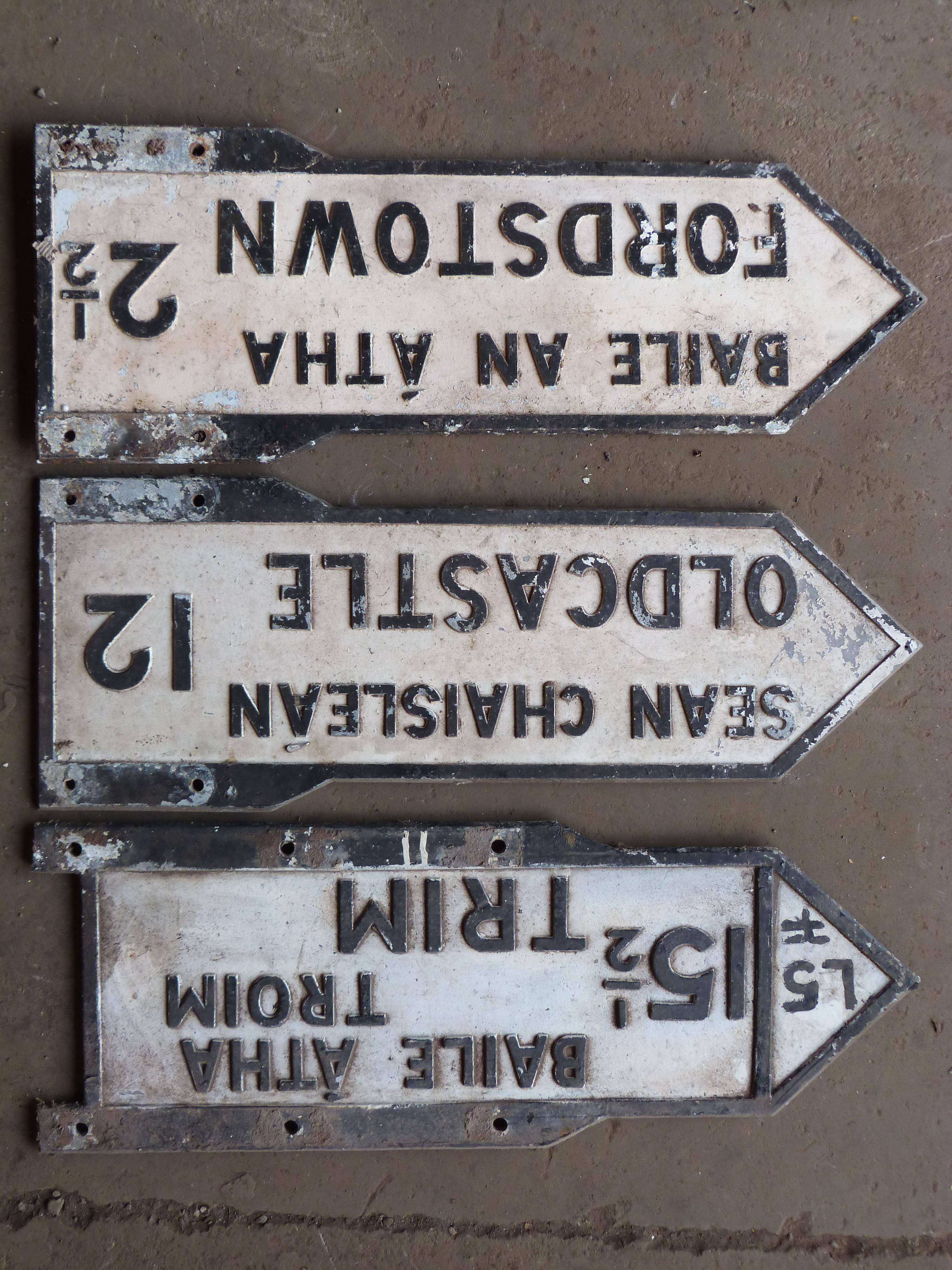 Three vintage Irish double sided cast aluminium signs comprising Fordstown, Oldcastle & Trim, length