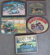 Five vintage car interest signs comprising Bugatti, Harley-Davidson, Peugeot & two Renault,