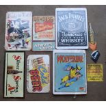 Eight metal advertising signs to include Jack Daniel's, beer etc, largest approximately 40 x 30cm