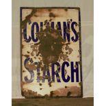 Vintage enamel advertising sign 'Colman's Starch', 91 x 61cm