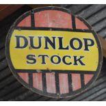 Vintage double sided enamel advertising sign 'Dunlop Stock', diameter 61cm