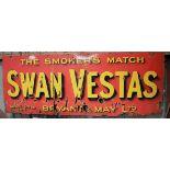Vintage enamel advertising sign 'Bryant & May Swan Vestas', 91 x 244cm