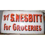 Vintage enamel advertising sign 'S Nesbitt for Groceries', 35.5 x 66cm