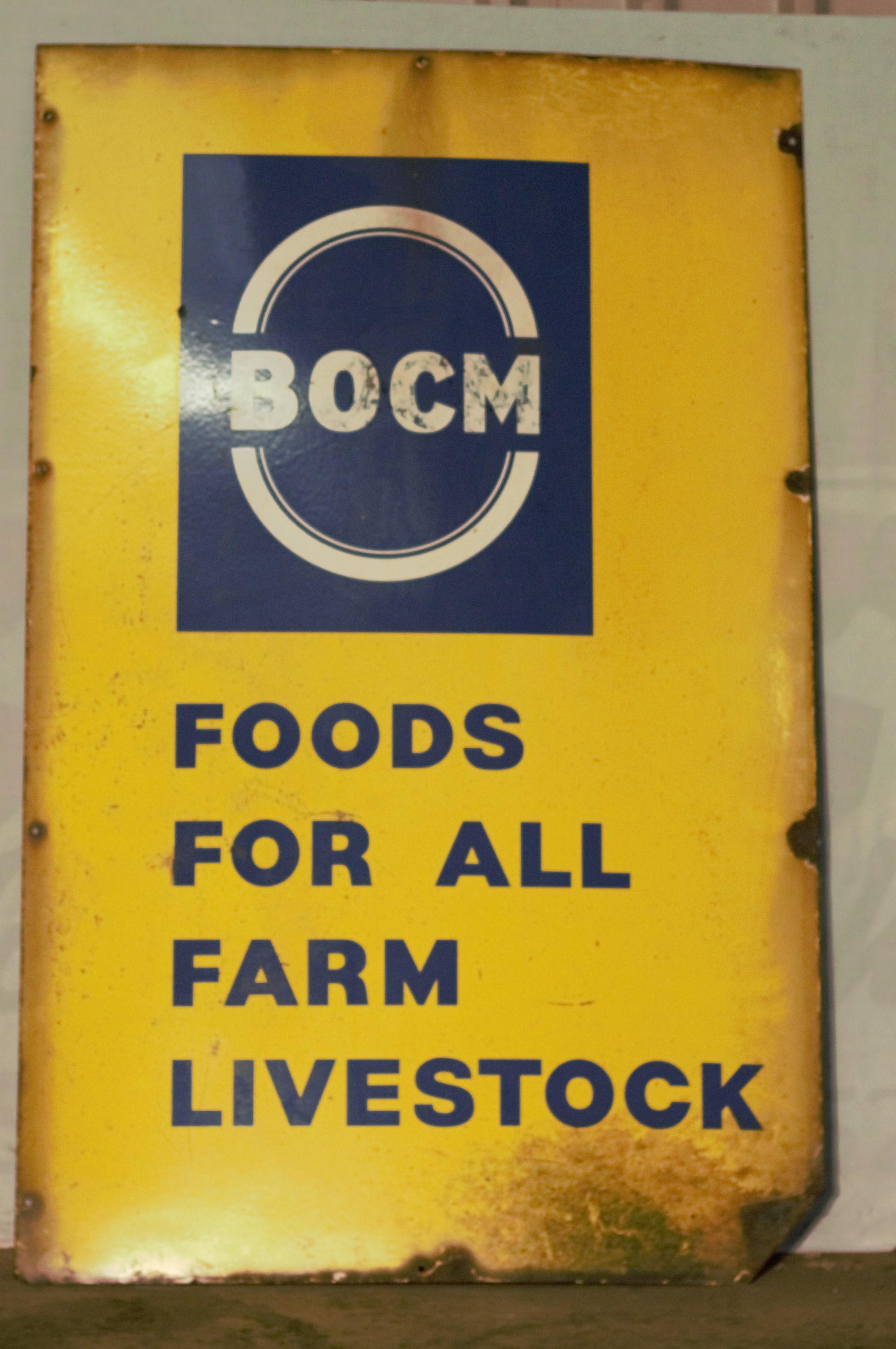 Vintage enamel advertising sign 'BOCM Foods for all farm livestock', 122 x 244cm