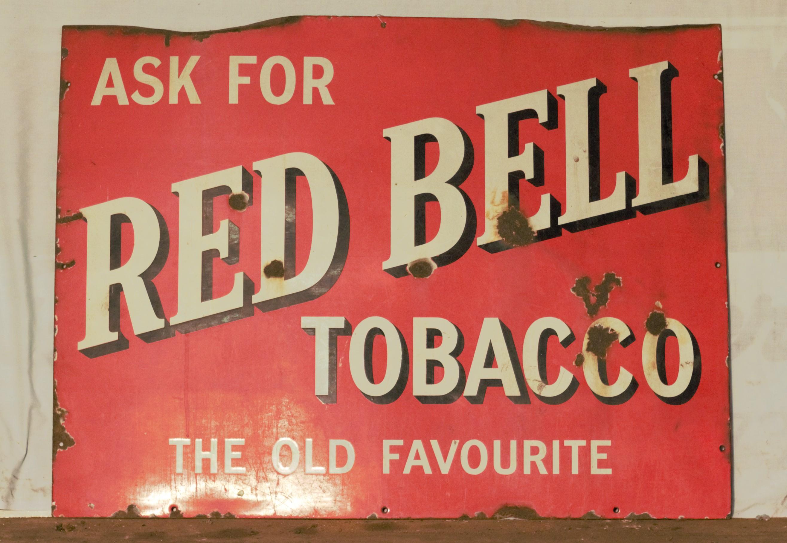 Vintage enamel advertising sign 'Red Bell Tobacco', 77 x 102cm