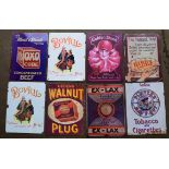 Eight metal advertising signs to include Golden Shred, Bird's custard, Bovril, Oxo etc, each