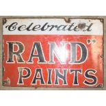 Vintage enamel advertising sign 'Rand Paints', 28 x 41cm