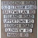 Eight various road name signs comprising Manse Road, Glenview Road, Lough Road, Uppertown Road,