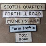Five road signs comprising Scotch Quarter, Forthill Road, Moneyslane, Moss Road & Farm Traffic