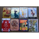 Eight metal advertising signs to include Farmers Markets, Bovril, Players etc, each approximately 40