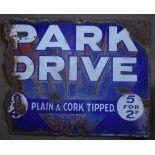 Vintage double sided enamel advertising sign 'Park Drive', 30.5 x 38cm