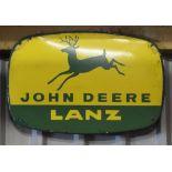 Vintage enamel advertising sign 'John Deere Lanz', 38 x 57cm