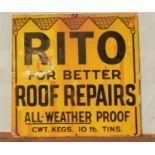 Vintage enamel advertising sign 'Rito Roof Repairs', 61 x 61cm