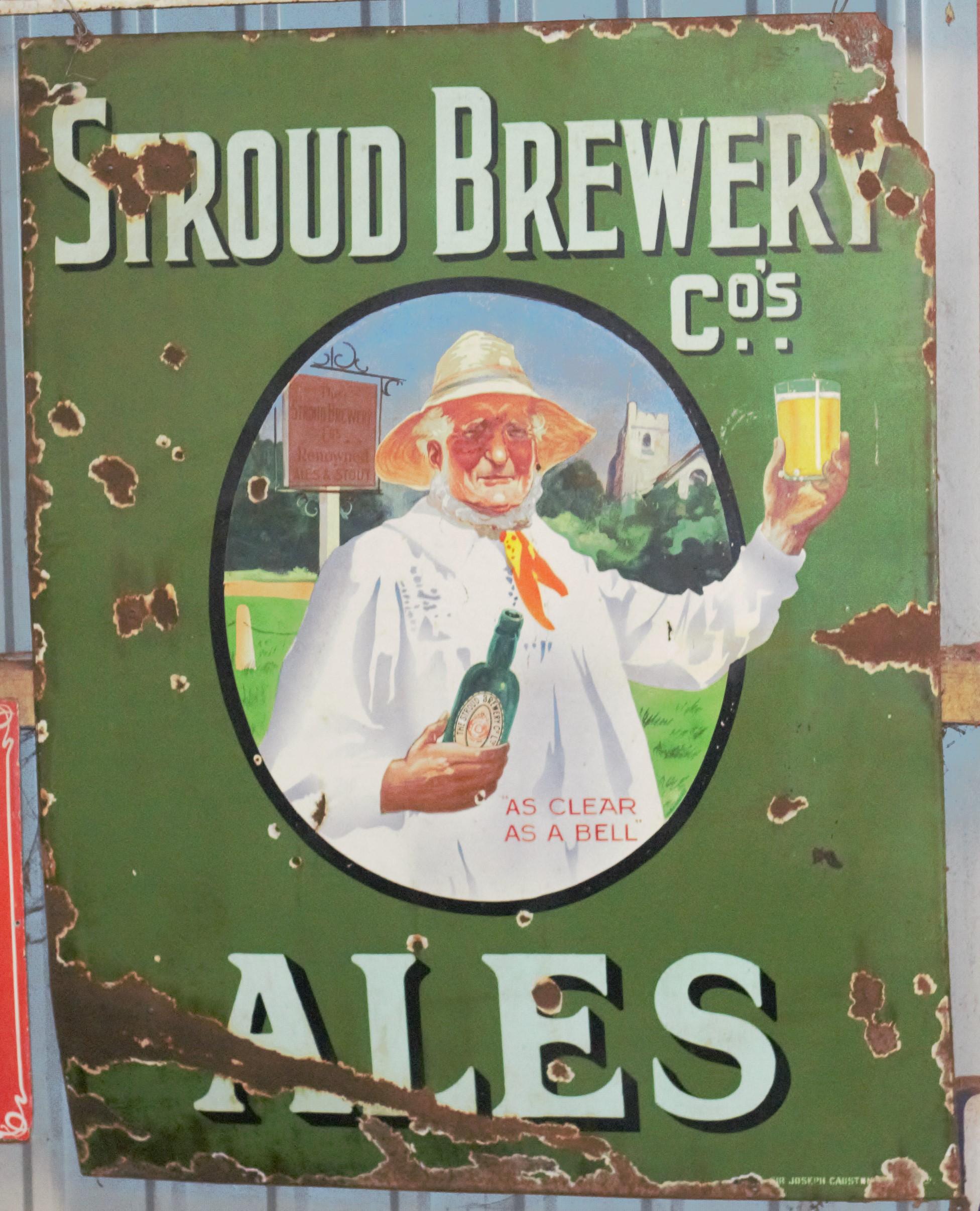 Vintage enamel advertising sign 'Stroud Brewery Ales', 137 x 107cm