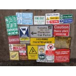 Various warning and direction signs to include Marazion car parks, danger, water jetting, highway