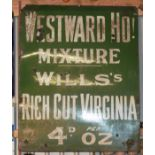 Vintage enamel advertising sign 'Wills's Westward Ho! Mixture Rich Cut Virginia', 154 x 122cm
