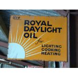 Vintage enamel double sided advertising sign 'Royal Daylight Oil for lighting, cooking, heating',
