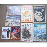 Eight metal advertising signs to include Old Rip tobacco, Bird's etc largest approximately 60.5 x