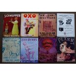 Eight metal advertising signs to include Hudson's soap, Pears, Oxo, Schweppes, Thomas Crapper etc,