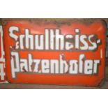 Vintage enamel beer advertising sign 'Schultheiss-Patzenhofer', 51 x 74cm