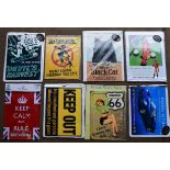 Eight metal advertising signs to include Black Cat, Johnnie Walker, Highway 66, Ford GT40 etc,