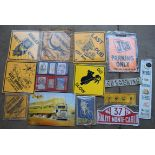 Fourteen signs to include Australian warning signs, Michelin tyres, JCB etc, largest 55 x 50cm