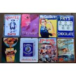 Eight metal advertising signs to include Quaker Oats, Fry's chocolate, Cadbury's etc, each