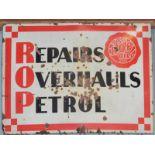 Vintage enamel advertising sign 'ROP Oils - repairs, overhauls, petrol', 92 x 123cm