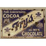 Vintage enamel advertising sign 'Fry's Cocoa and Milk Chocolate', 76 x 115cm