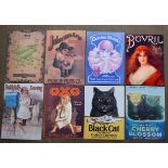 Eight metal advertising signs to include Black Cat, Oxo, Bovril etc, each approximately 40 x 30cm