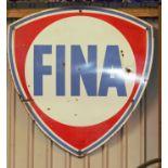 Vintage enamel petrol advertising sign 'Fina', 128 x 120cm