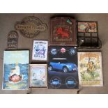 Various signs and collectibles to include Route 66 bottle holder, St Bruno Flake mirror, Red Lion