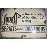 Vintage enamel advertising sign 'Spratt's Biscuit Dog Foods', 51 x 76cm