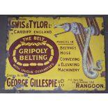 Vintage enamel advertising sign 'Lewis & Taylor, Cardiff, England Gripoly Belting, agentGeorge