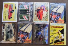 Eight motoring interest metal advertising signs to include MG, Castrol, Brooklands, Dunlop tyres
