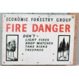 Vintage enamel advertising sign 'Economic Forestry Group Fire Danger', 38 x 53cm