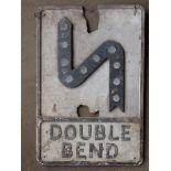 Vintage cast aluminiumdouble bend road warning sign with inbuilt reflectors, 53 x 36cm
