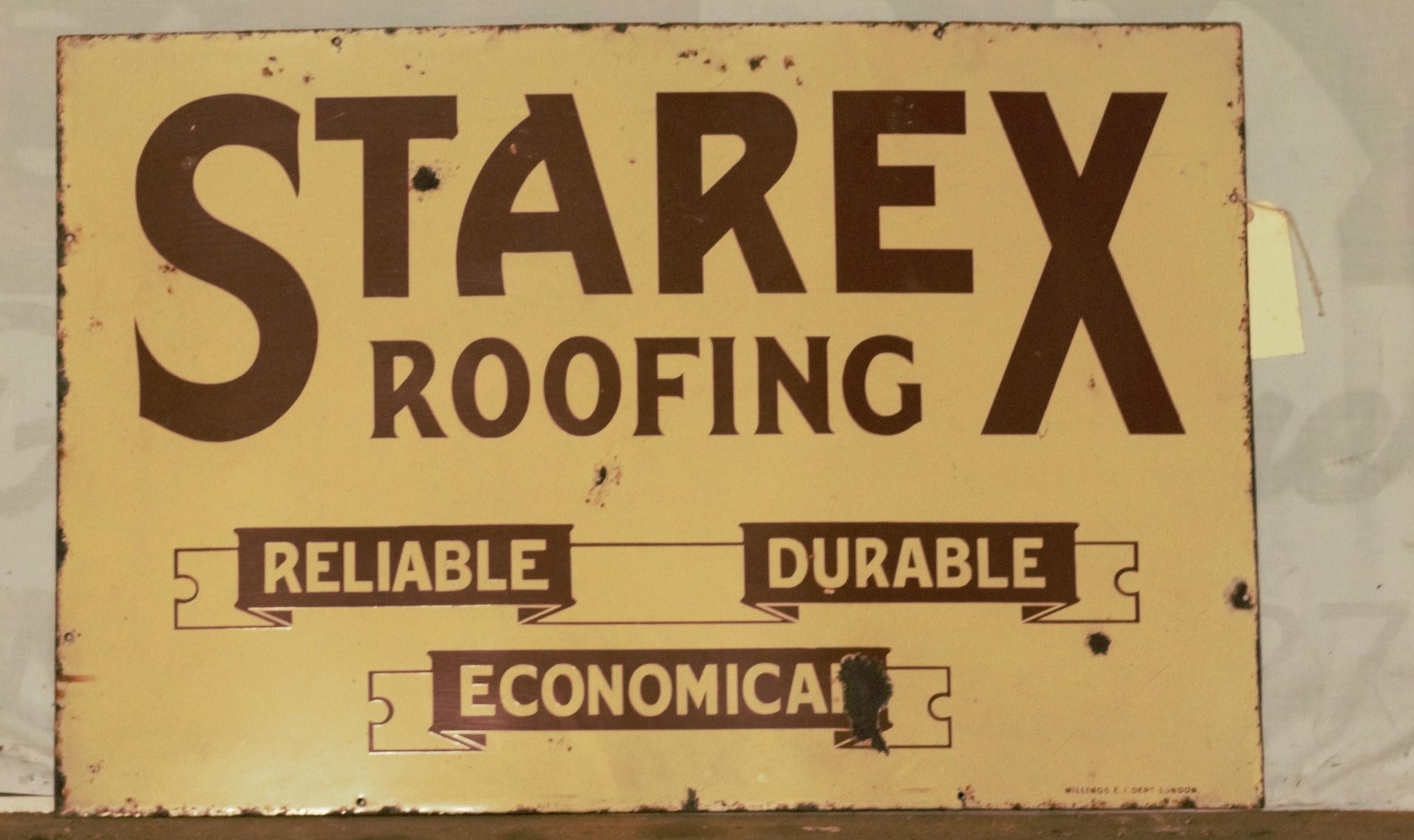 Vintage enamel advertising sign 'Starex Roofing', 61 x 91cm