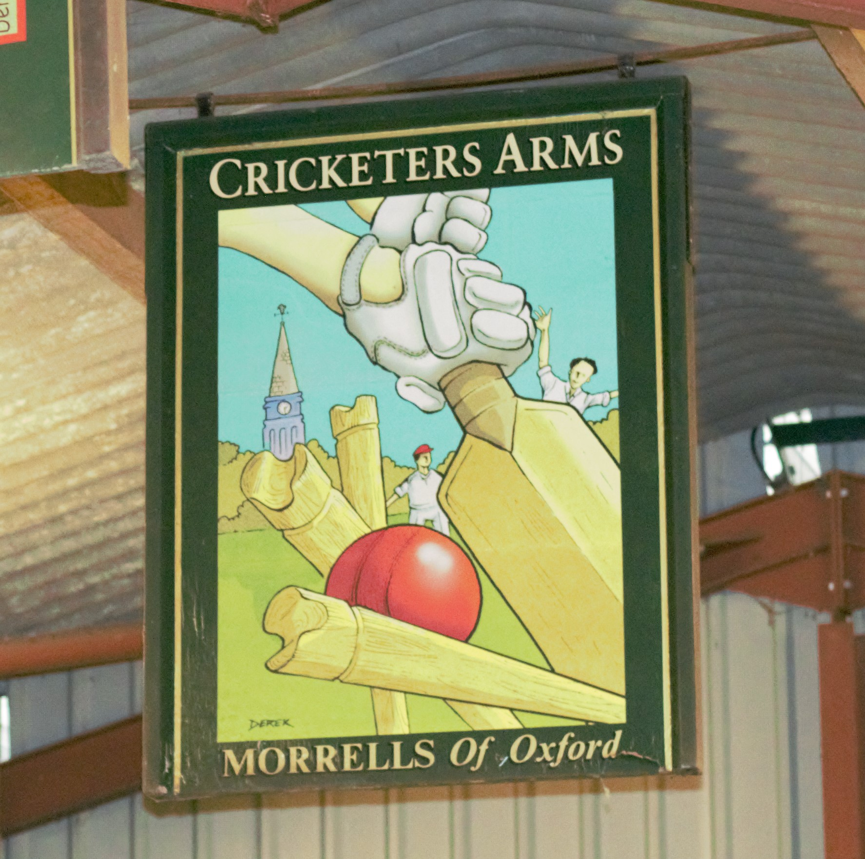 Cricketers Arms double sided pub sign by Morrells of Oxford