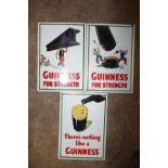 Three enamel Guinness advertising signs, 25.5 x 18cm