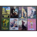 Eight metal advertising signs to include Bovril, Kangaroo Binder Twine etc, each approximately 40