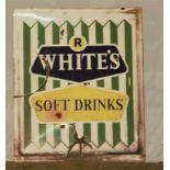 Vintage enamel advertising sign 'R White's Soft Drinks', 68 x 57cm