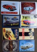 Eight motoring interest metal advertising signs to include Jaguar, Morgan, Ferrari and Bugatti, each