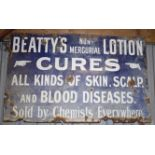 Vintage enamel advertising sign 'Beatty's Non-Mercurial Lotion', 77 x 122cm