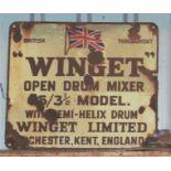 Vintage enamel advertising sign 'Winget open drum mixer', 42 x 48cm